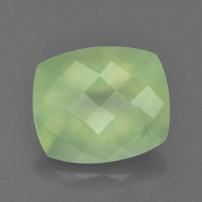 Green Prehnite Gem - 5.6ct Cushion Checkerboard (ID: 365775)