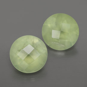 Green Prehnite Gem - 1.9ct Round Checkerboard (ID: 367045)