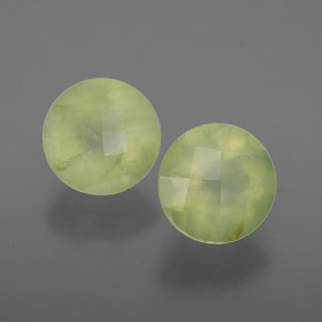 Earth Green Prehnite Gem - 1.8ct Round Checkerboard (ID: 367047)