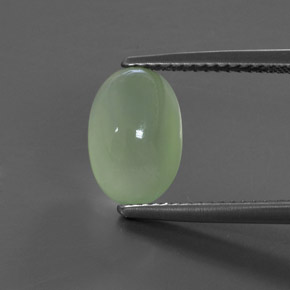 Green Prehnite Gem - 3.9ct Oval Cabochon (ID: 368468)
