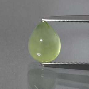 Lime Green Prehnite Gem - 2.9ct Pear Cabochon (ID: 372501)