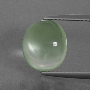 Light Yellow Green Prehnite Gem - 4.1ct Oval Cabochon (ID: 375989)