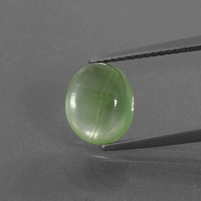 Green Prehnite Gem - 3.2ct Oval Cabochon (ID: 376273)