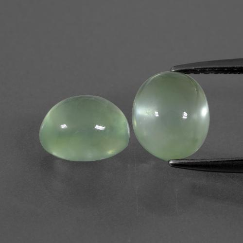 Green Prehnite Gem - 2ct Oval Cabochon (ID: 389709)