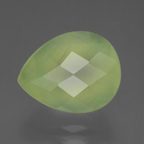 7ct Pear Checkerboard Green Prehnite Gem (ID: 406409)