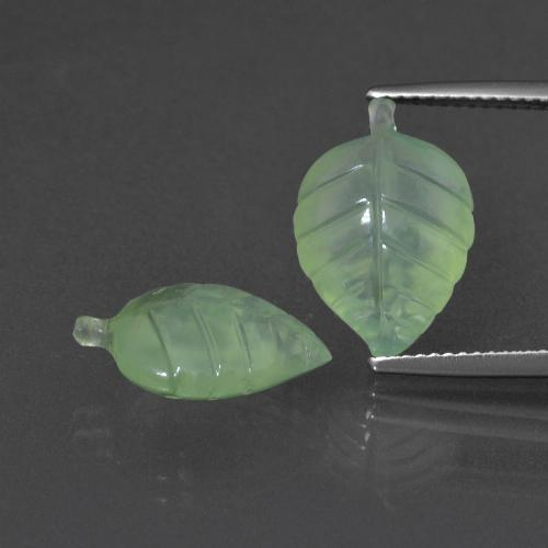 Pale Pear Green Prehnite Gem - 5.6ct Carved Leaf (ID: 418147)