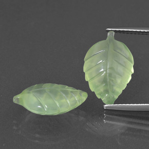Pale Pear Green Prehnite Gem - 6.2ct Carved Leaf (ID: 418156)