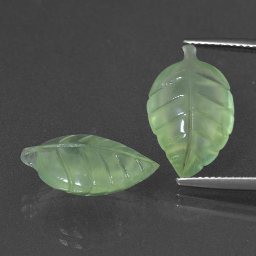 Green Prehnite Gem - 7.2ct Carved Leaf (ID: 418180)