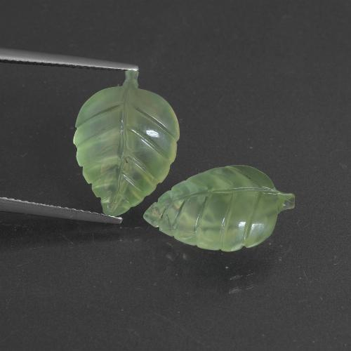 Medium Green Prehnite Gem - 7.4ct Carved Leaf (ID: 418224)