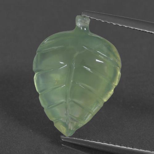 Green Prehnite Gem - 7.3ct Carved Leaf (ID: 418584)