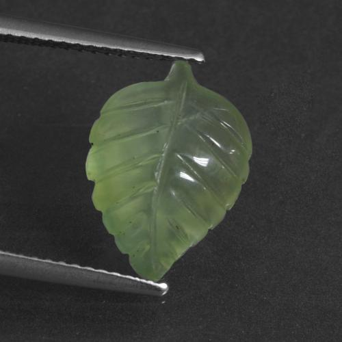 Green Prehnite Gem - 4.9ct Carved Leaf (ID: 418770)