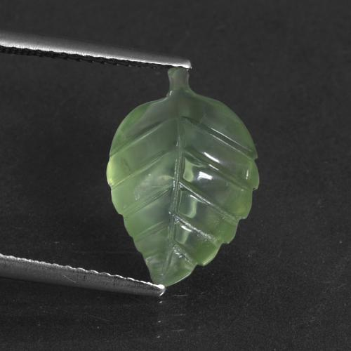 Green Prehnite Gem - 4.8ct Carved Leaf (ID: 418793)