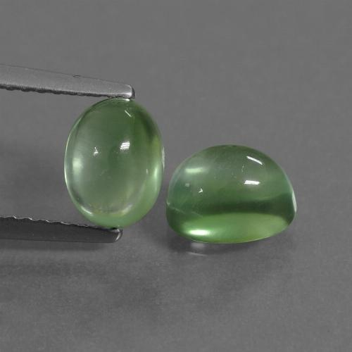 Green Prehnite Gem - 1.3ct Oval Cabochon (ID: 449986)