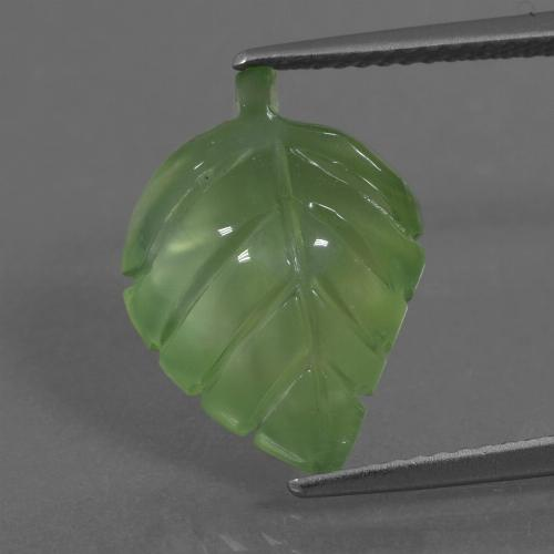 Green Prehnite Gem - 6.8ct Carved Leaf (ID: 454617)