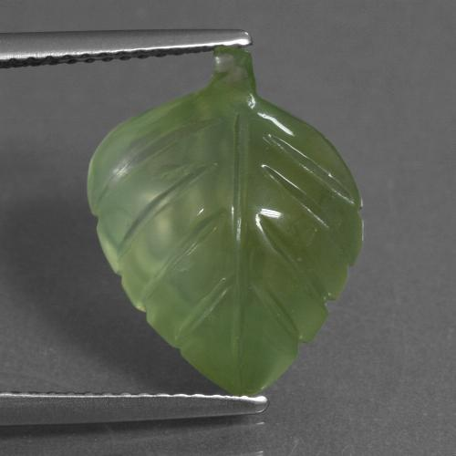 Green Prehnite Gem - 8.6ct Carved Leaf (ID: 454903)