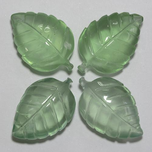 Green Prehnite Gem - 9.1ct Carved Leaf (ID: 455349)