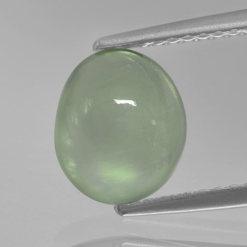 Green Prehnite Gem - 2.2ct Oval Cabochon (ID: 458973)