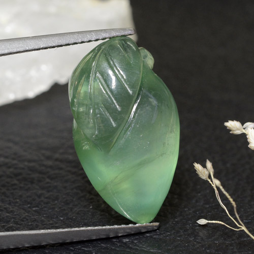 Green Prehnite Gem - 17.5ct Carved Fruit (ID: 469432)