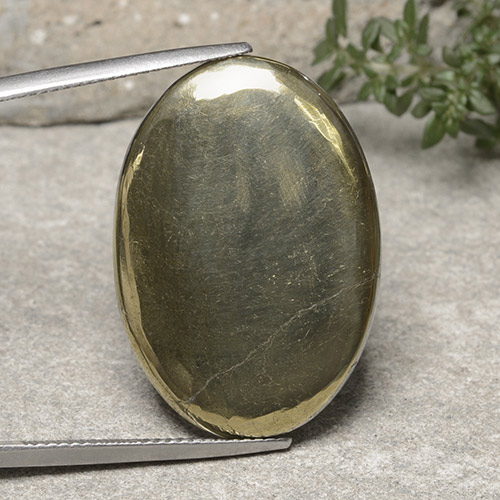 Gold Pyrite Gem - 29.7ct Oval Cabochon (ID: 488149)