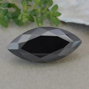 Dark Gray Metallic Pyrite Gem - 19.4ct Marquise Facet (ID: 492102)