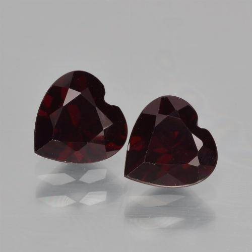 Dark Red Pyrope Garnet Gem - 0.9ct Heart Facet (ID: 456457)