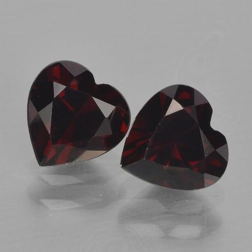 Dark Red Pyrope Garnet Gem - 1ct Heart Facet (ID: 456692)