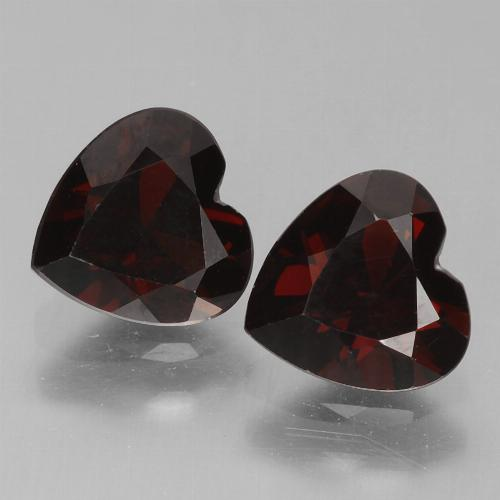 Blackish Red Pyrope Garnet Gem - 0.9ct Heart Facet (ID: 456727)