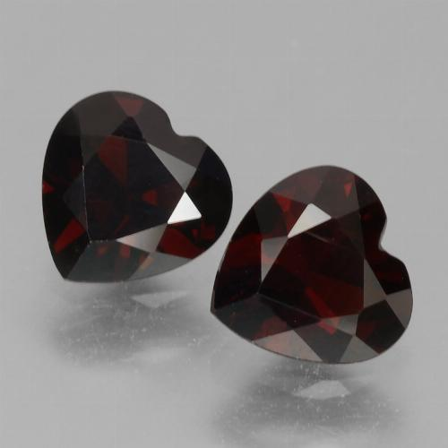 Blackish Red Granate Piropo Gema - 0.9ct Forma de corazón (ID: 456729)