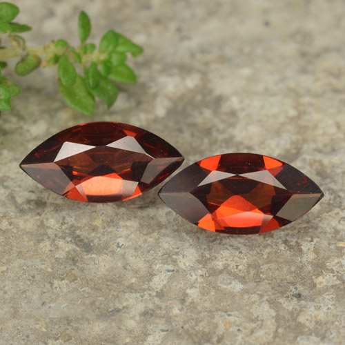 Red Pyrope Garnet Gem - 0.9ct Marquise Facet (ID: 479079)