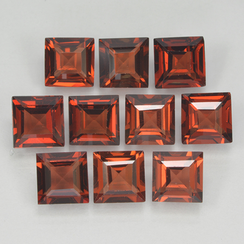 Orange Red Pyrope Garnet Gem - 0.4ct Square Step-Cut (ID: 499830)