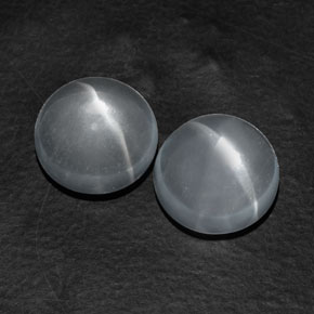 White Quartz Cat's Eye Gem - 5.8ct Round Cabochon (ID: 361674)