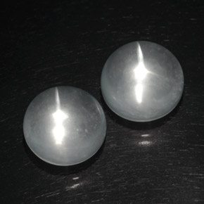 White Quartz Cat's Eye Gem - 8.3ct Round Cabochon (ID: 369429)