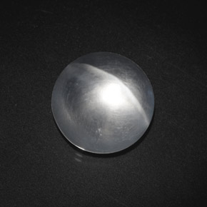 White Quartz Cat's Eye Gem - 7.6ct Round Cabochon (ID: 369621)