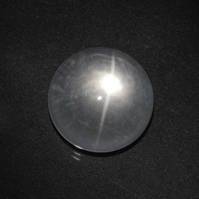 White Quartz Cat's Eye Gem - 8.9ct Round Cabochon (ID: 369719)