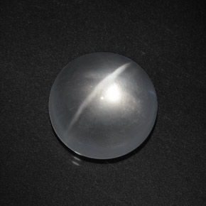 Clear White Quartz Cat's Eye Gem - 8.1ct Round Cabochon (ID: 369720)