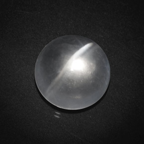 Clear White Quartz Cat's Eye Gem - 8.6ct Round Cabochon (ID: 369727)