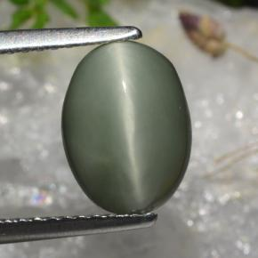 Green Quartz Cat's Eye Gem - 3ct Oval Cabochon (ID: 472354)
