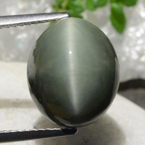 Green Quartz Cat's Eye Gem - 9ct Oval Cabochon (ID: 472517)