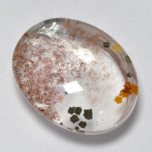 Multicolor Quartz With Marcasite Gem - 12ct Oval Cabochon (ID: 521354)