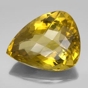 Lemon Quartz Gem - 152.1ct Pear Checkerboard (ID: 335442)