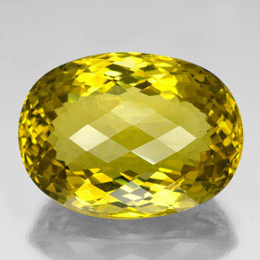 Lemon Quartz Gem - 123.6ct Oval Checkerboard (ID: 337725)