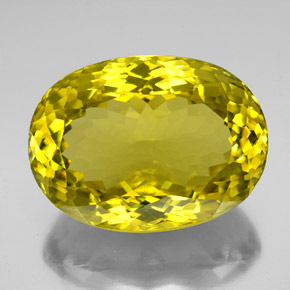 Lemon Quartz Gem - 161.2ct Oval Facet (ID: 338603)