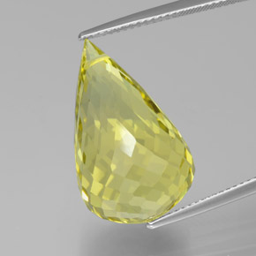 Lemon Quartz Gem - 20.8ct Briolette with Hole (ID: 379644)