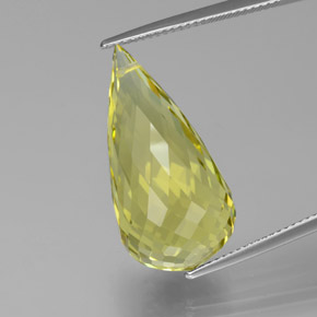 Lemon Quartz Gem - 21.6ct Briolette with Hole (ID: 379645)