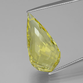 Light Pineapple Yellow Cuarzo Gema - 24.8ct Corte Briolette con Agujero (ID: 379647)