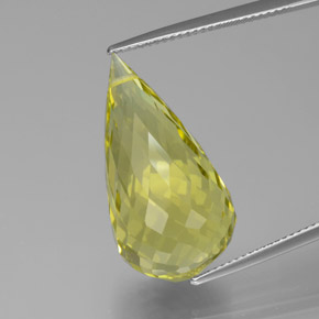 Lemon Quartz Gem - 23.1ct Briolette with Hole (ID: 379648)