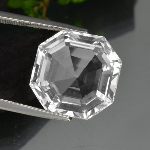 Clear White クォーツ 宝石 - 13.6ct アッシャーカット (ID: 394681)