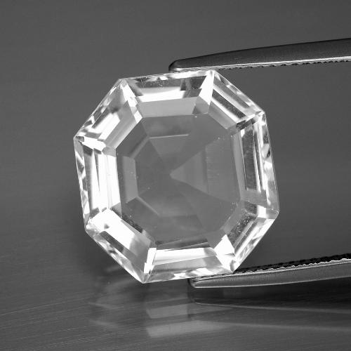 Clear White クォーツ 宝石 - 11.9ct アッシャーカット (ID: 394683)