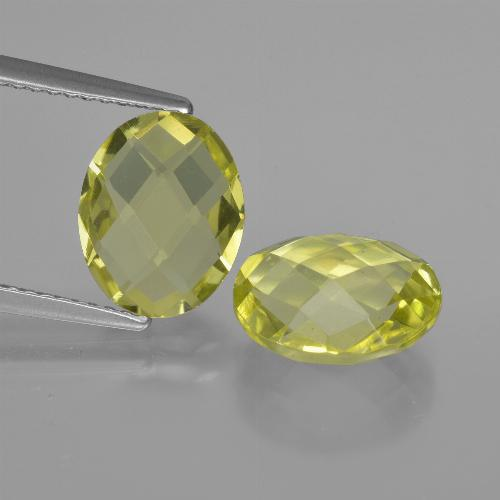 2.4ct Oval Checkerboard (double sided) Lemon Quartz Gem (ID: 416737)