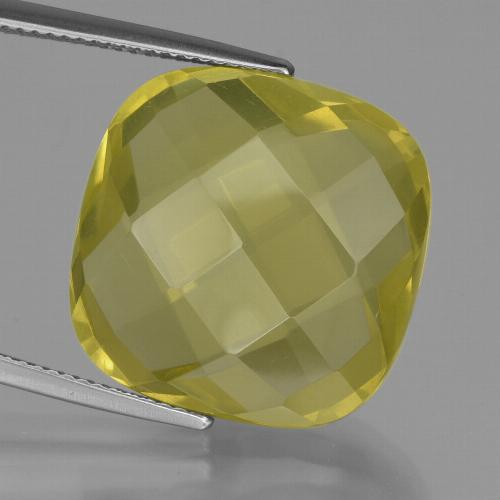 Lemon Quartz Gem - 26.9ct Cushion Checkerboard (double sided) (ID: 417316)